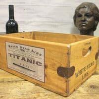 Titanic White Vintage Box Star Line Wooden Storage Crate Liner Cruise Ship